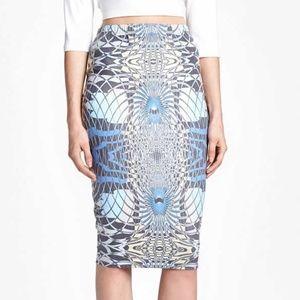 Leith Blue Faux Suede Pencil Skirt